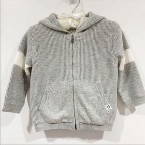 Zara Knit wear grey cotton Zippier hooded sweater